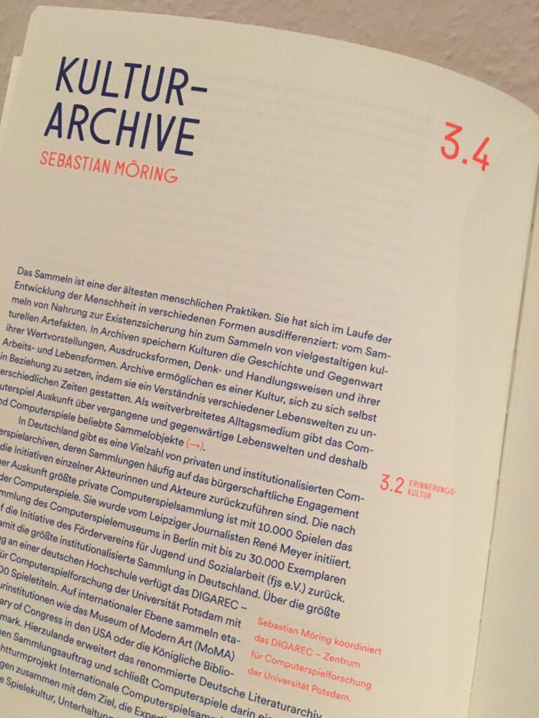 """Artikel """"Kutlurarchive"""" im Handbuch Gameskultur"""
