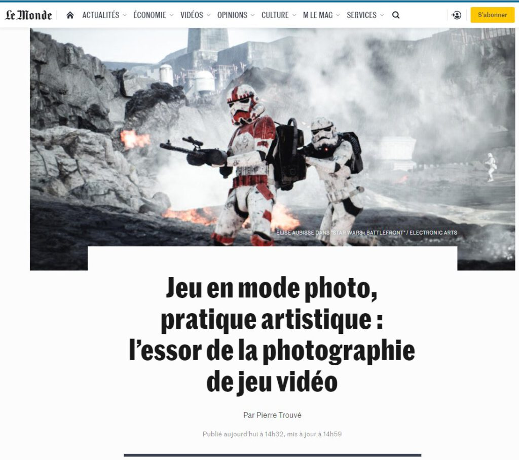 In-game photography is picked up by the French major news outlet Le Monde.fr. A couple of days ago, I have had the pleasure to speak about in-game photography with Pierre Trouvé,  He is a journalist from His article gives a nice overview of the width of the topic. It introduces a number of interesting artists such as Elise Aubisse, Megan Reims, Joshua Woodyatt, and Petri Levälahti.