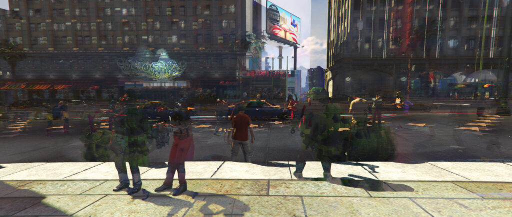 """Indifferent Universe"" (Pia Zdila 2020). The image reflects the temporality of the real-time game world of Grand Theft Auto V (2013) by adopting Claire Hentschker's method of working with image averaging, a technique where a number of images are virtually stacked. Only those elements of the image stack remain visible which appear in most images. With this method, it is possible to show the processuality and temporality of the game world in one image."